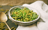 Green Pea & Quinoa Fusilli with Watercress & Coconut Pesto, Fresh Peas & Spinach