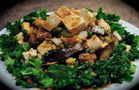 Kale & Tofu Stir Fry with Crunchy Miso Ginger Dressing