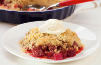 Rhubarb & Strawberry Crisp with Tofu Vanilla Whip