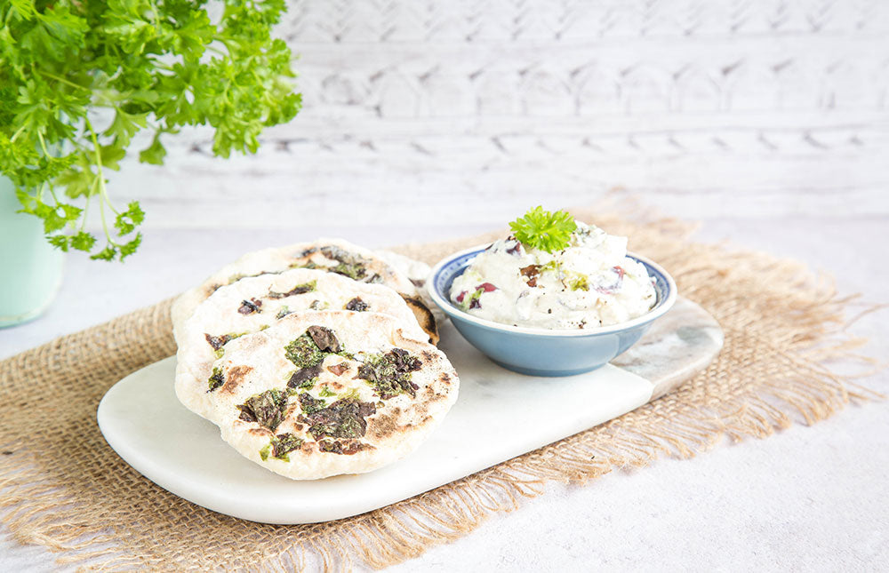 Atlantic Sea Salad Flatbreads with Tofu Tahini Dip