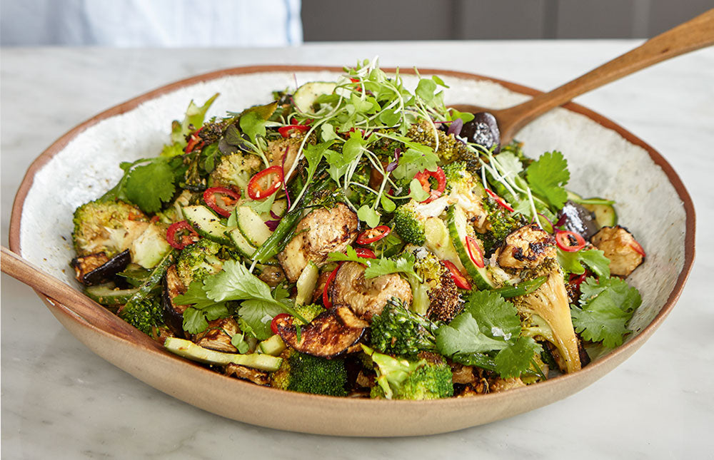 Spicy Miso Aubergine and Broccoli Salad