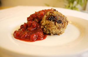 Wild Rice Rissole Patties with Cranberry Chutney