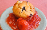 Muffins with Red Fruity Sauce