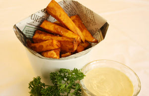 Sweet French Fries with Vegan Tofu Mayonnaise