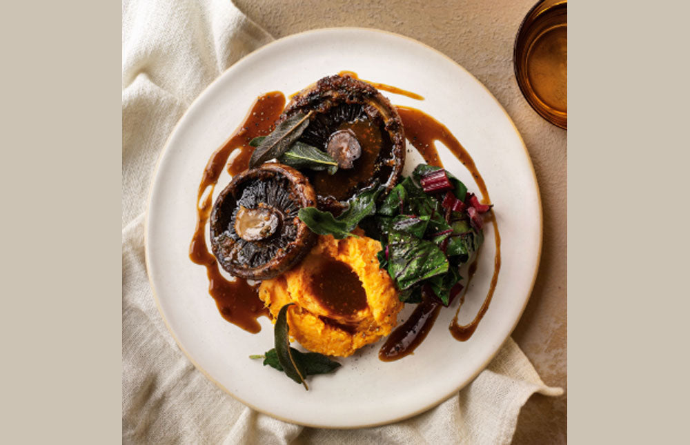 Miso Mushrooms with Sweet Potato