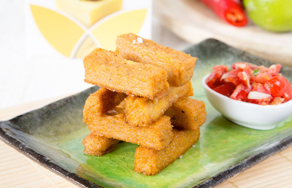 Cheezy Baked Polenta Chips With A White Miso Salsa