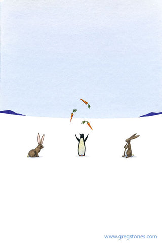 Penguin Taunts Rabbits