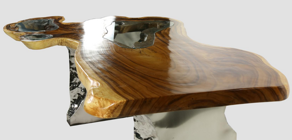 Gorgeous Inlay Glass Teak Wood Desk