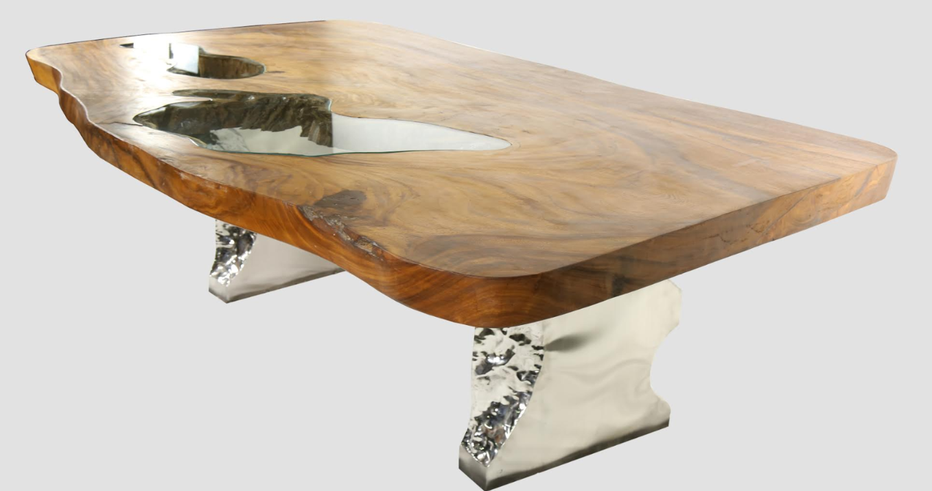 Gorgeous Inlay Glass Teak Wood Dining Table
