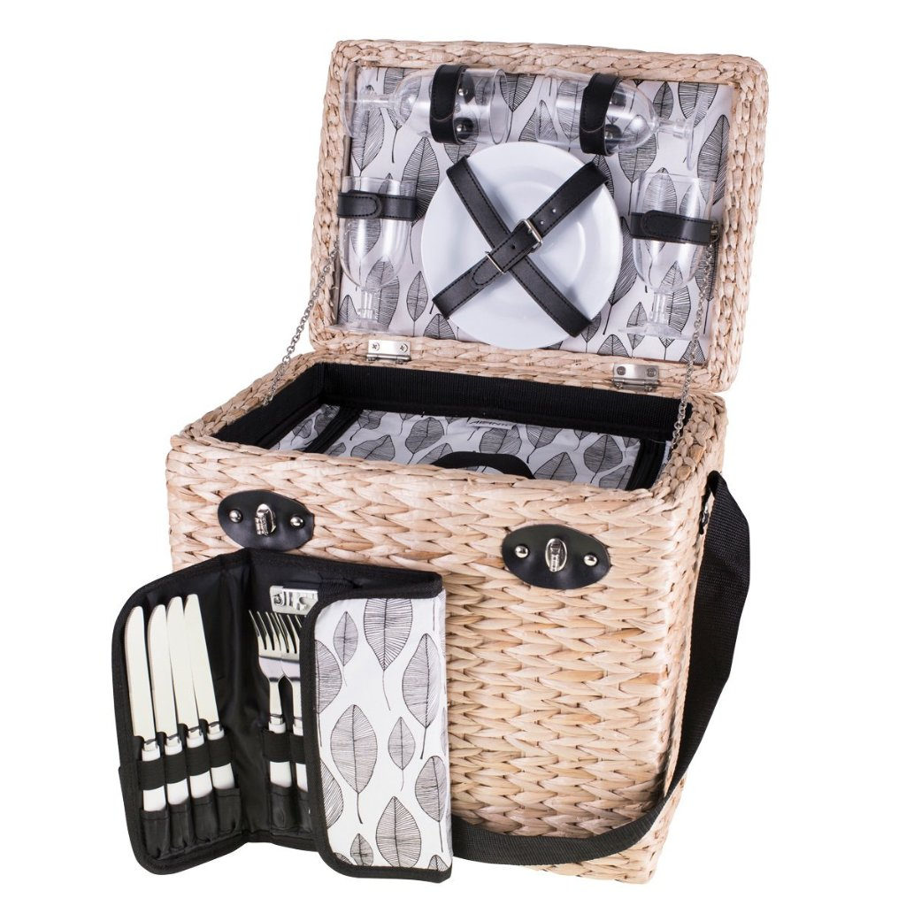 Four Person Monochrome Leaf  Picnic Basket