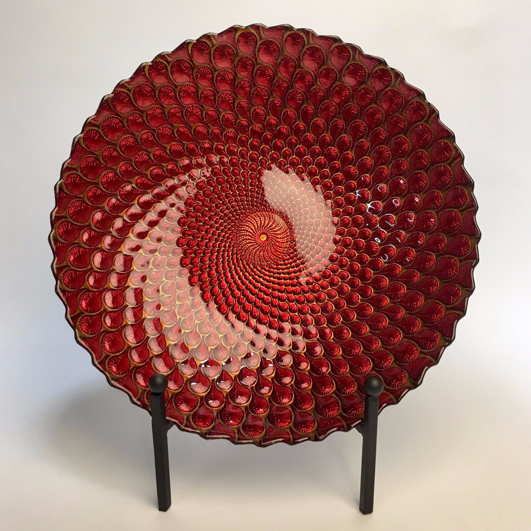 Turkish Plume Platter RED 33cm