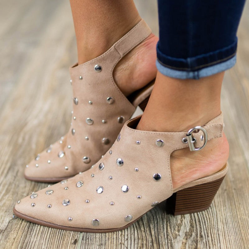 Retro Pointed Toe Rivet Shoes Sling Back Chunky Heel Sandals