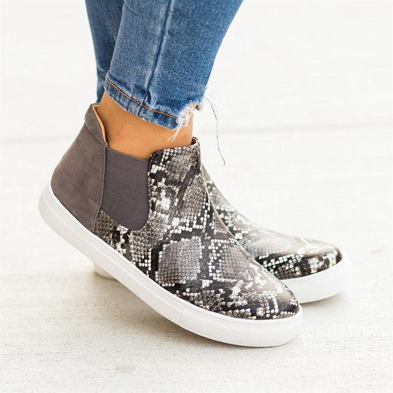 Animal Print Slip-on Ankle Sneakers Women's High-top Shoes