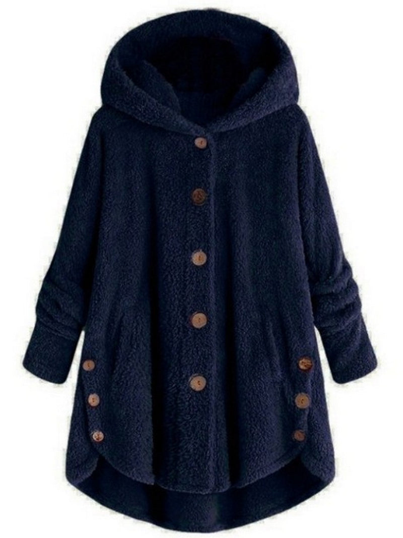 Fashion Single Breasted Spliced Solid Color Coat with Hooded