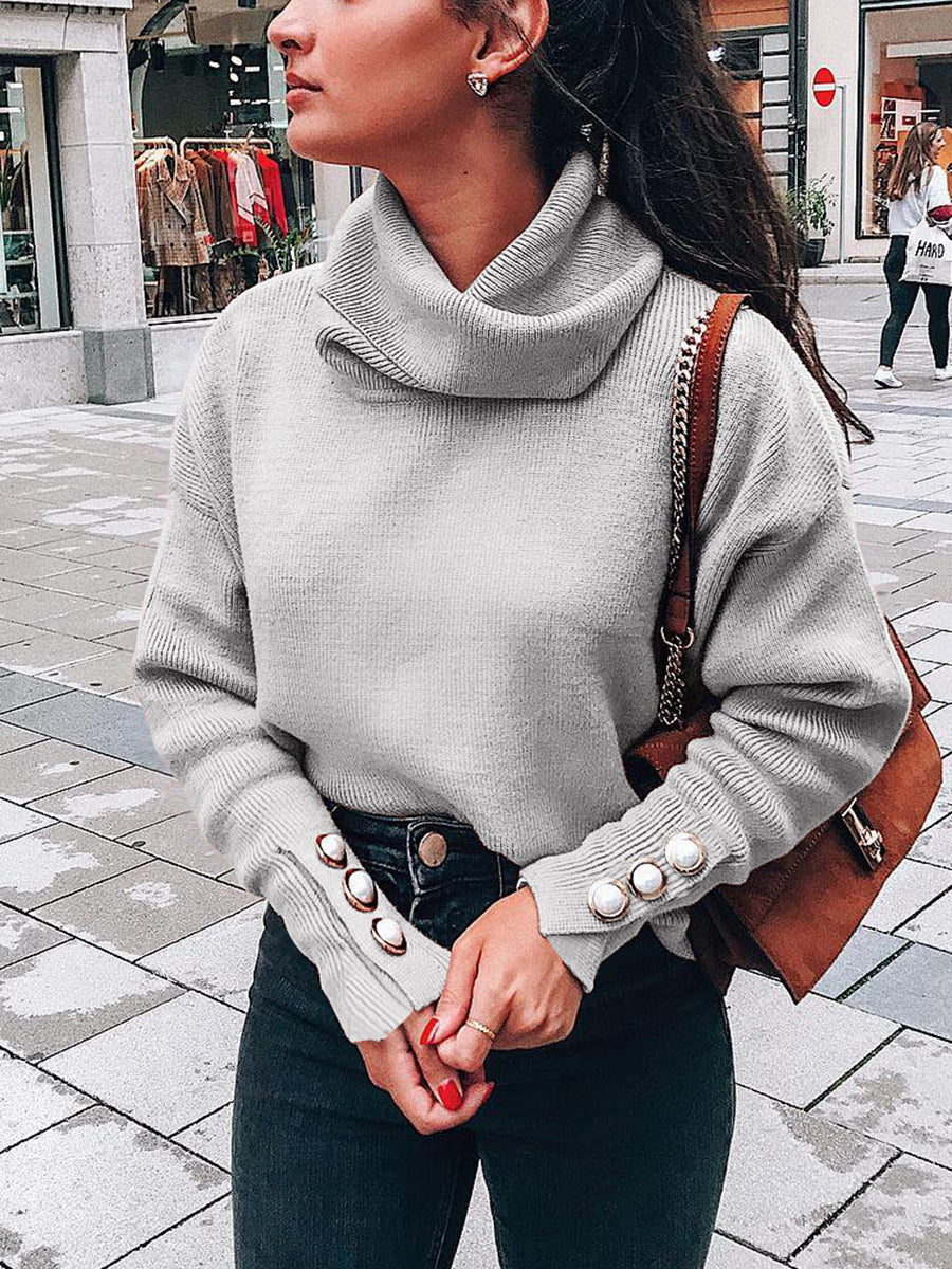 High Collar Loose Knit Long Sleeve Solid Color Spliced Sweater