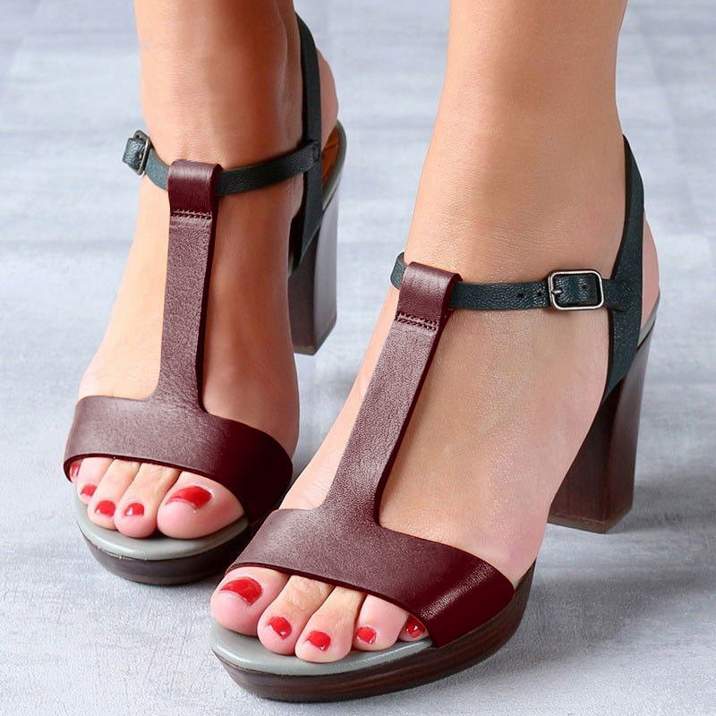 Women Vintage T-Strap Heels Shoes Buckle Chunky Heel Sandals