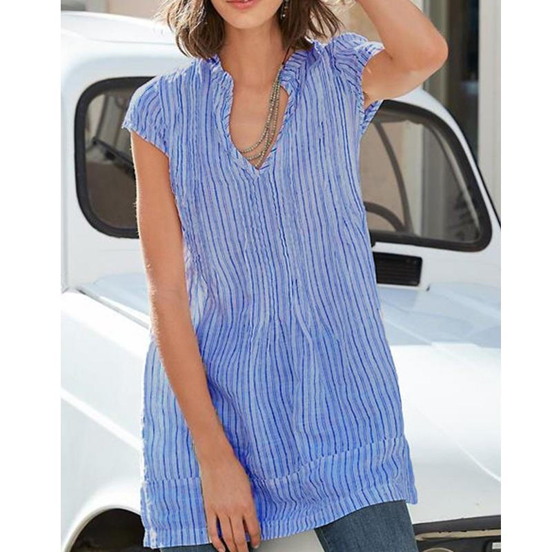 V NECK SHORT SLEEVE CASUAL STRIPED BLOUSES