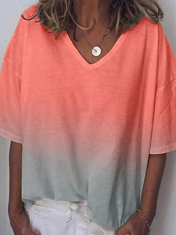 Half Sleeve V-Neck Color Block Casual Loose T-Shirt