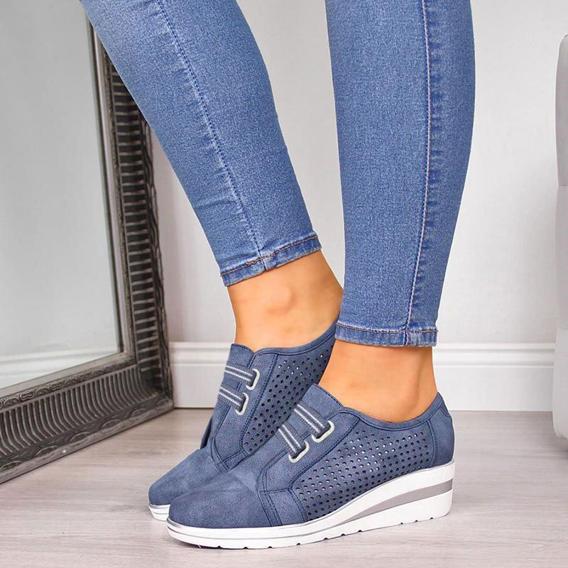 Faux Leather Hollow-out Wedge Heel Sneakers