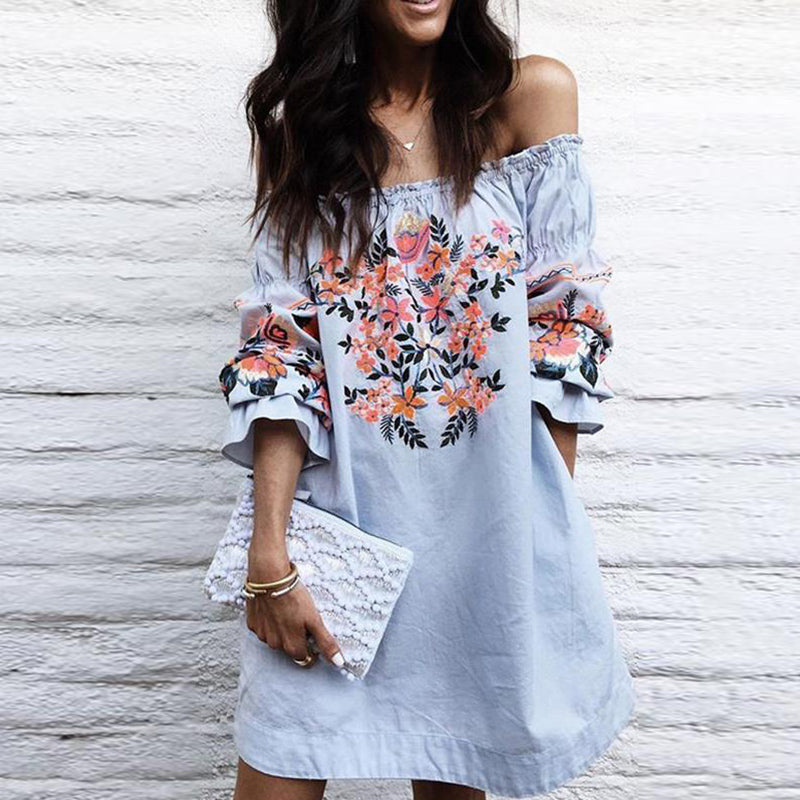 Boho-chic Sexy Off-the-shoulder Flared Sleeves Mini Dress