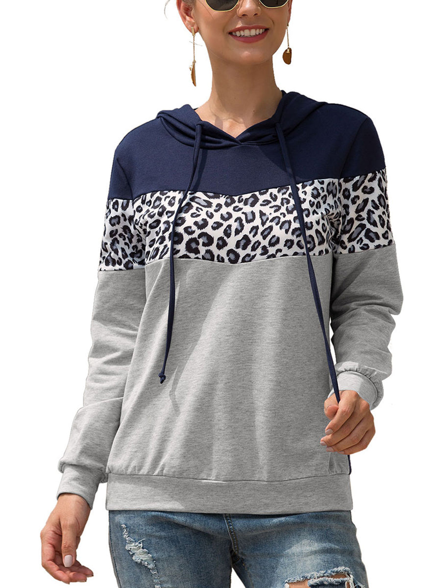 Leopard-print Spliced Long Sleeve Drawstring Sweatshirt with Hooded