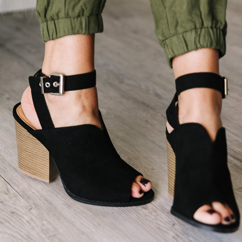 Peep Toe Chunky Heel Shoes Women's  Ankle Strap Sandals