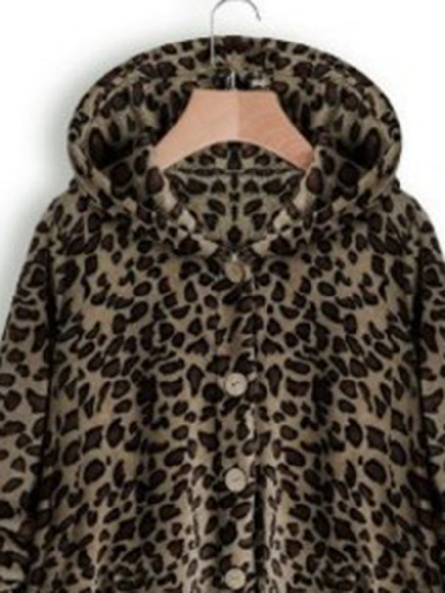 Fashion Single Breasted Button Leopard-print Long Sleeve Coat with Hooded