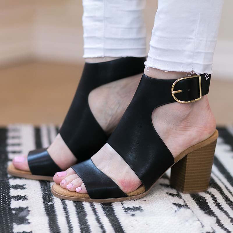 Adjustable Buckle Strap Cut Out Pumps Chunky Heel Sandals