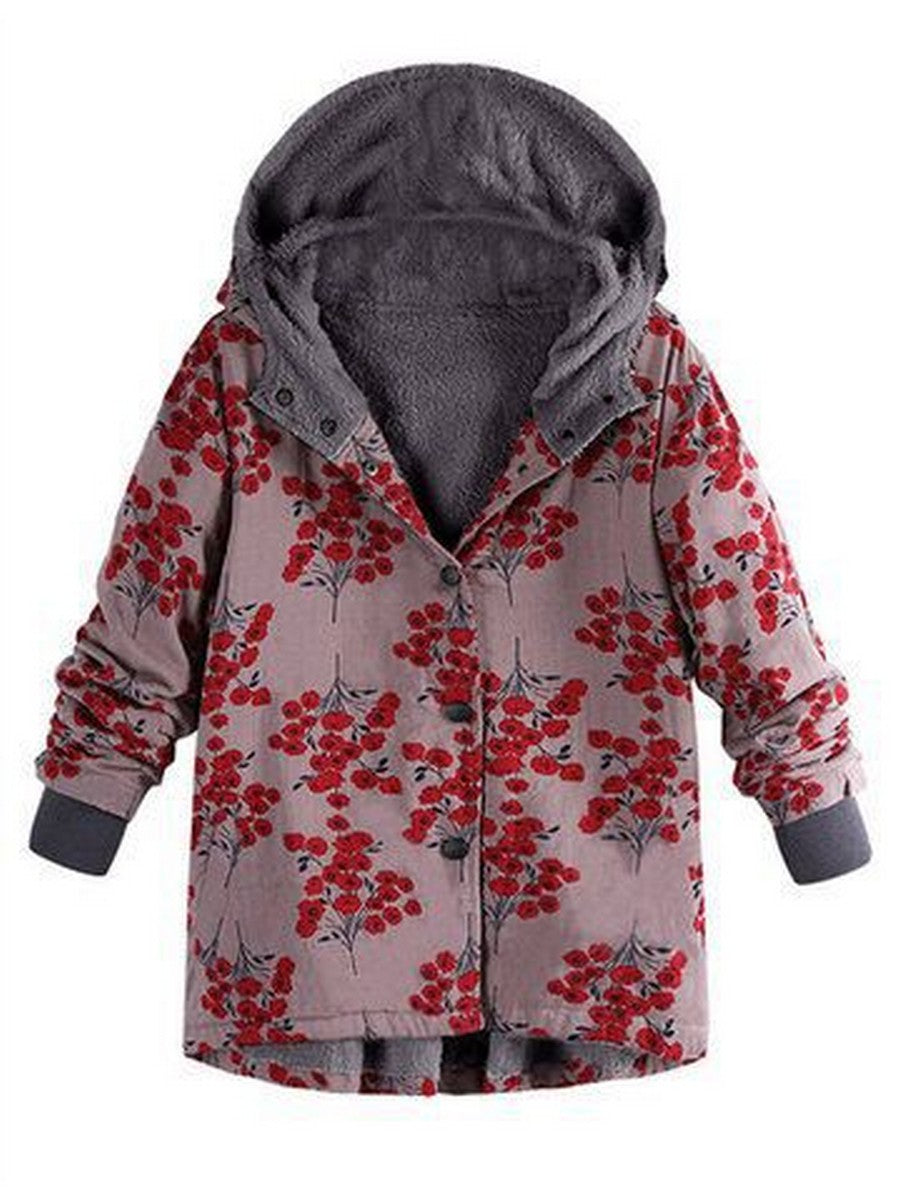 Fashion Single Breasted Button Printed Long Sleeve Coat with Hooded