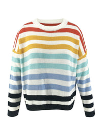 Colorful Striped Loose Long Sleeve High Quality Knit Sweater