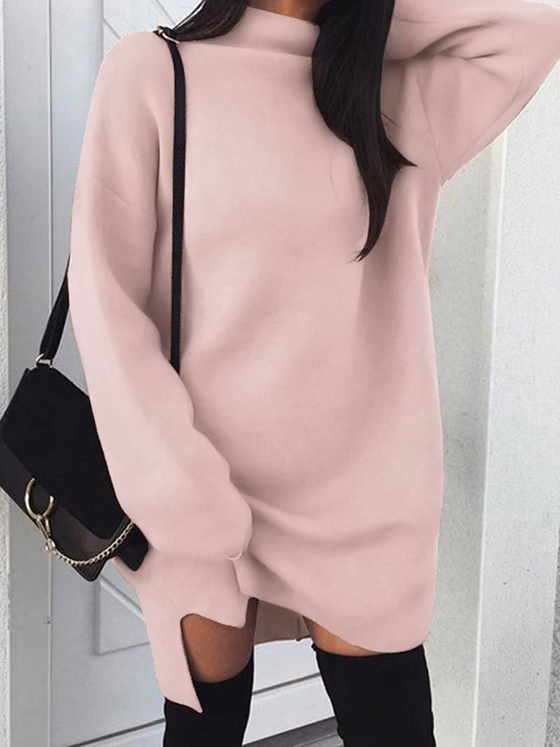 Sexy High Neck Long Sleeve Solid Color Split Sweatshirt