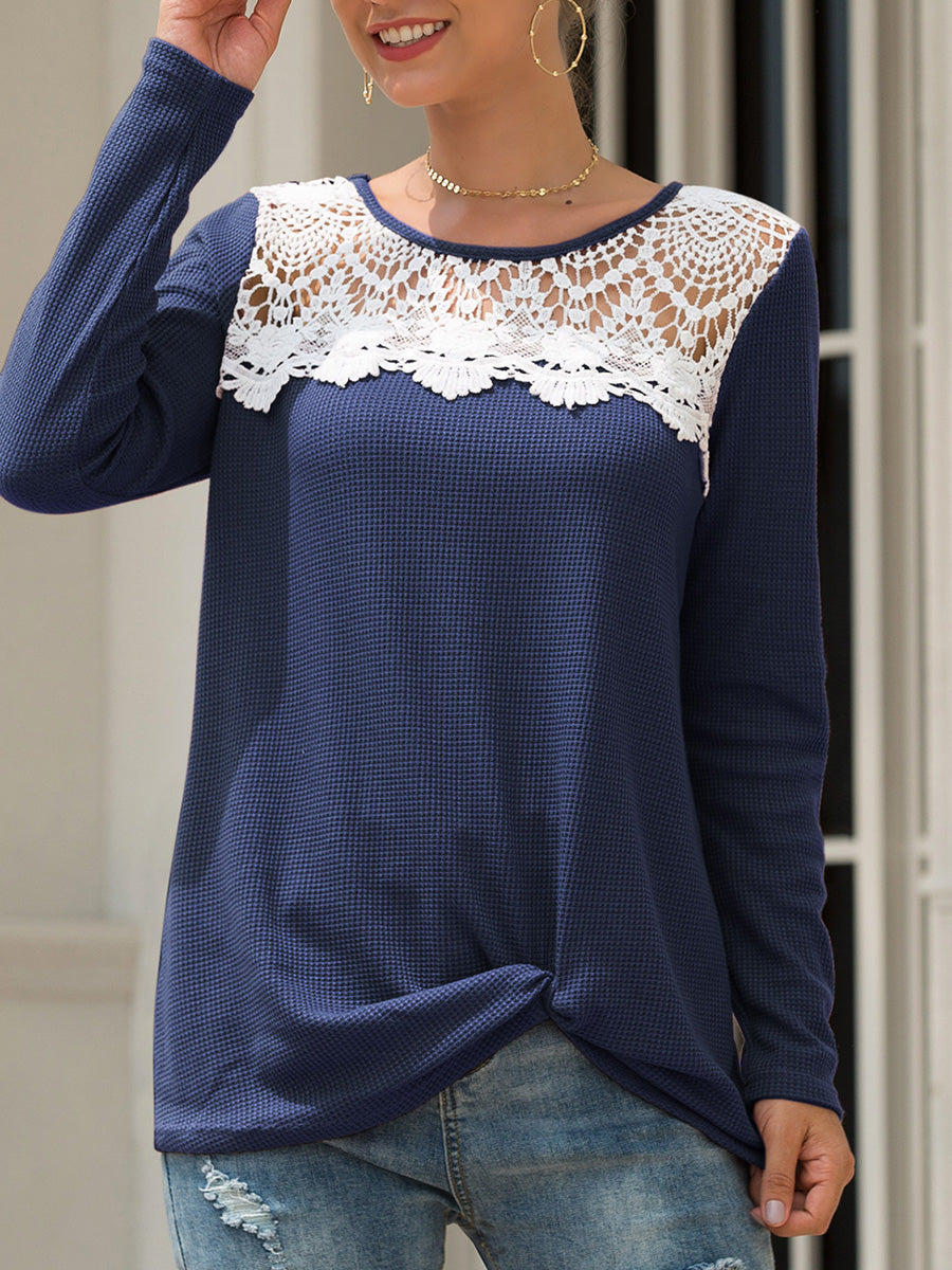Lace Splice Hollow Knot Long Sleeve Round Neck T-shirt
