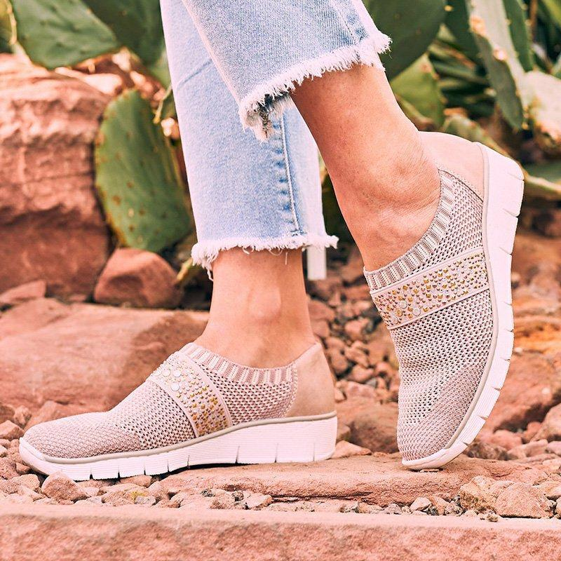 Women Beading Stretchy Flyknit Slip On Sneakers