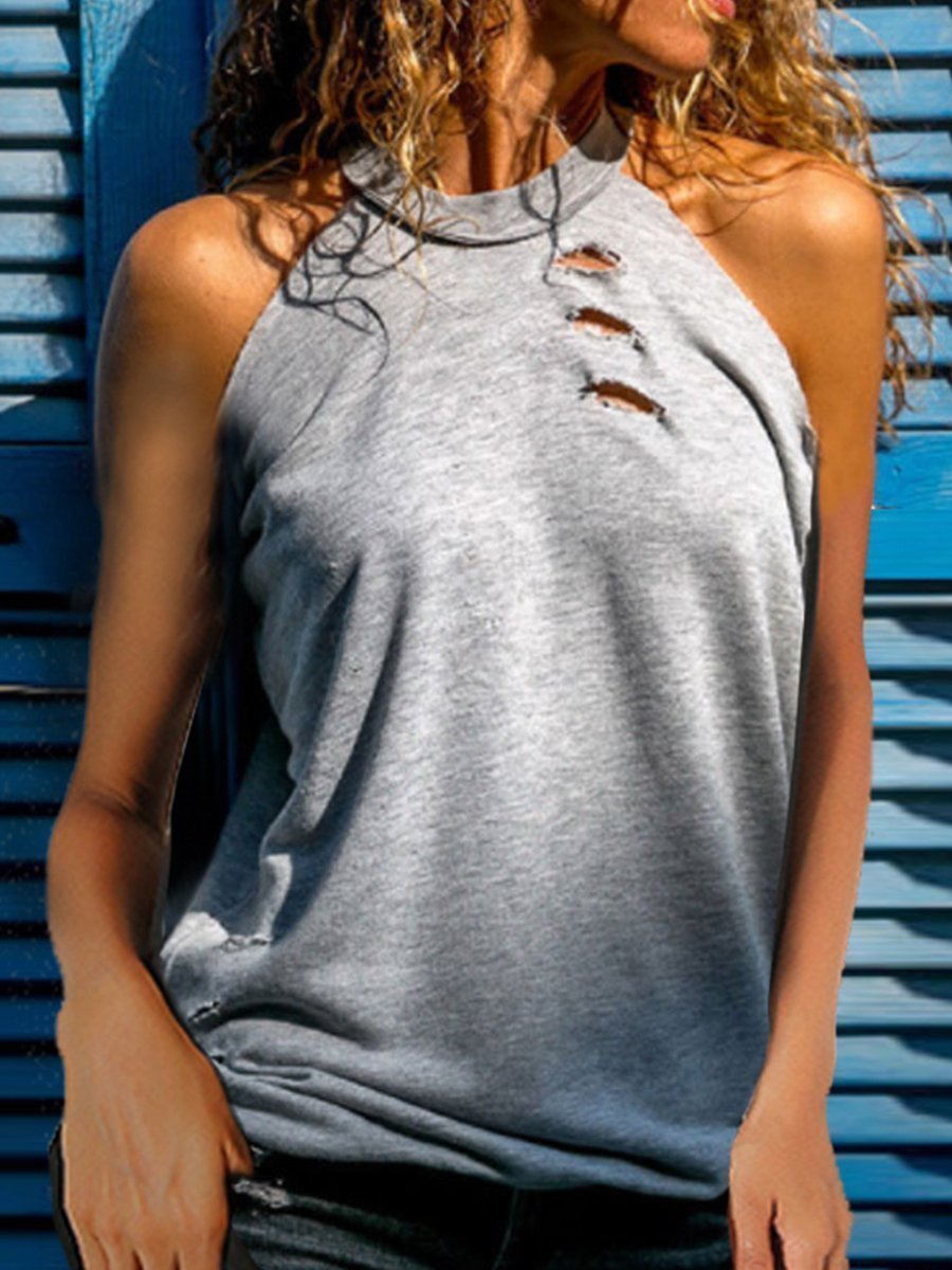 Halter Sleeveless Plain Hollow Out T-Shirts
