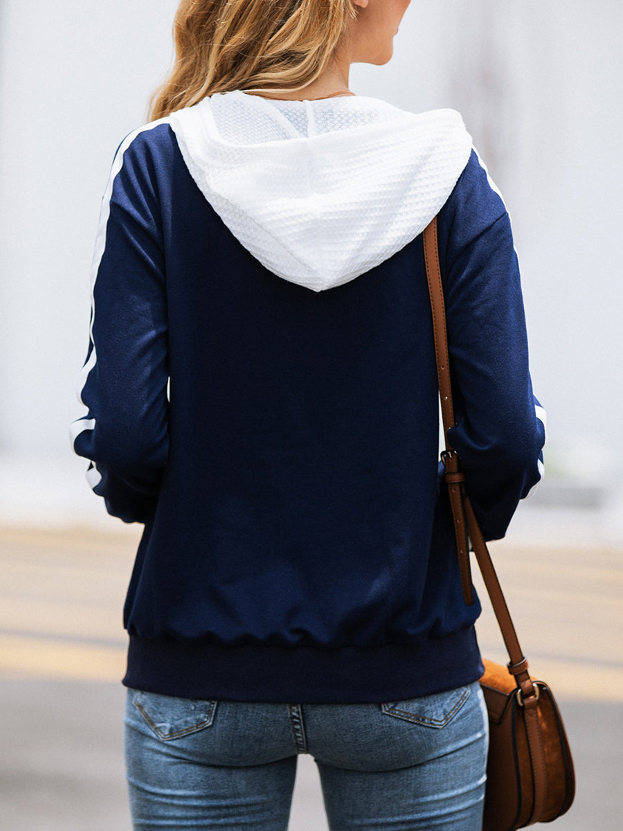 Fashion Striped Hooded Zipper Sweater