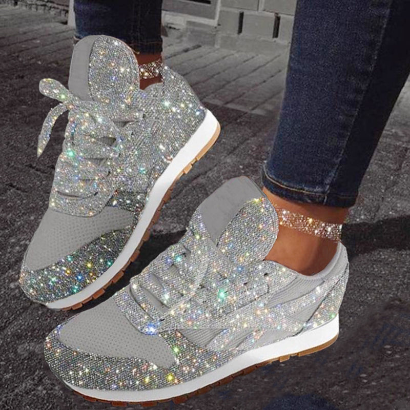 Women Chic Sparkle Lace-up  Sneakers Casual Running Shoes