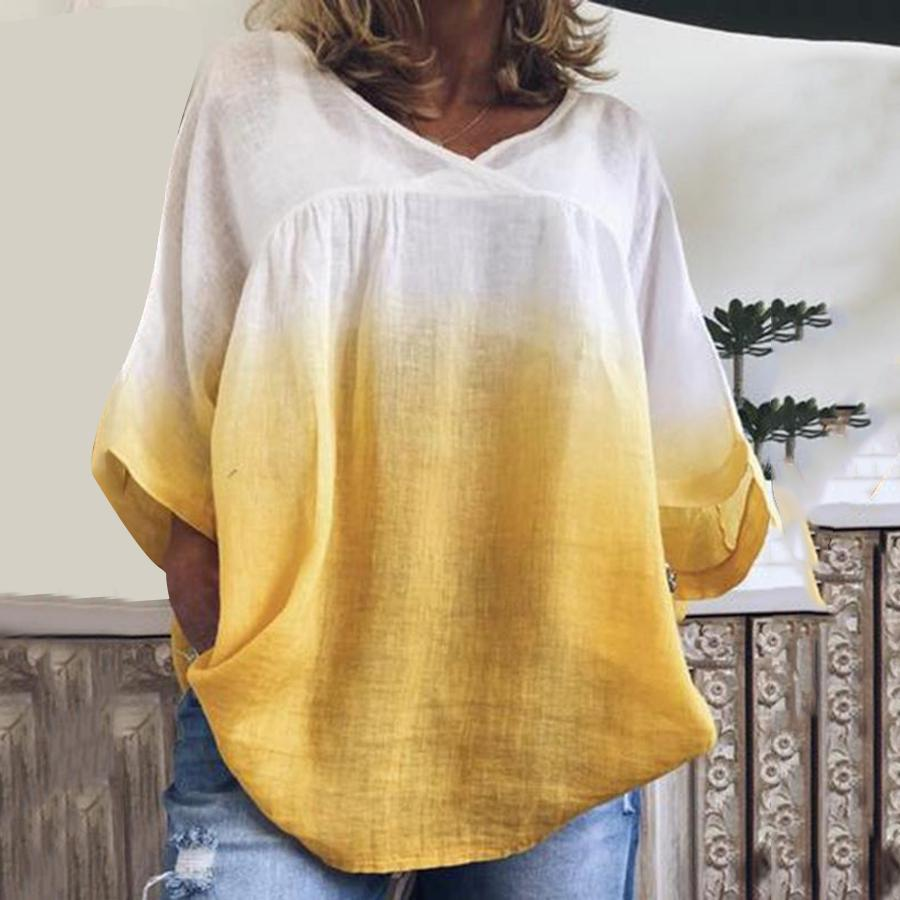 Mid-Length V-Neck Three-Quarter Sleeve Loose Casual T-Shirt