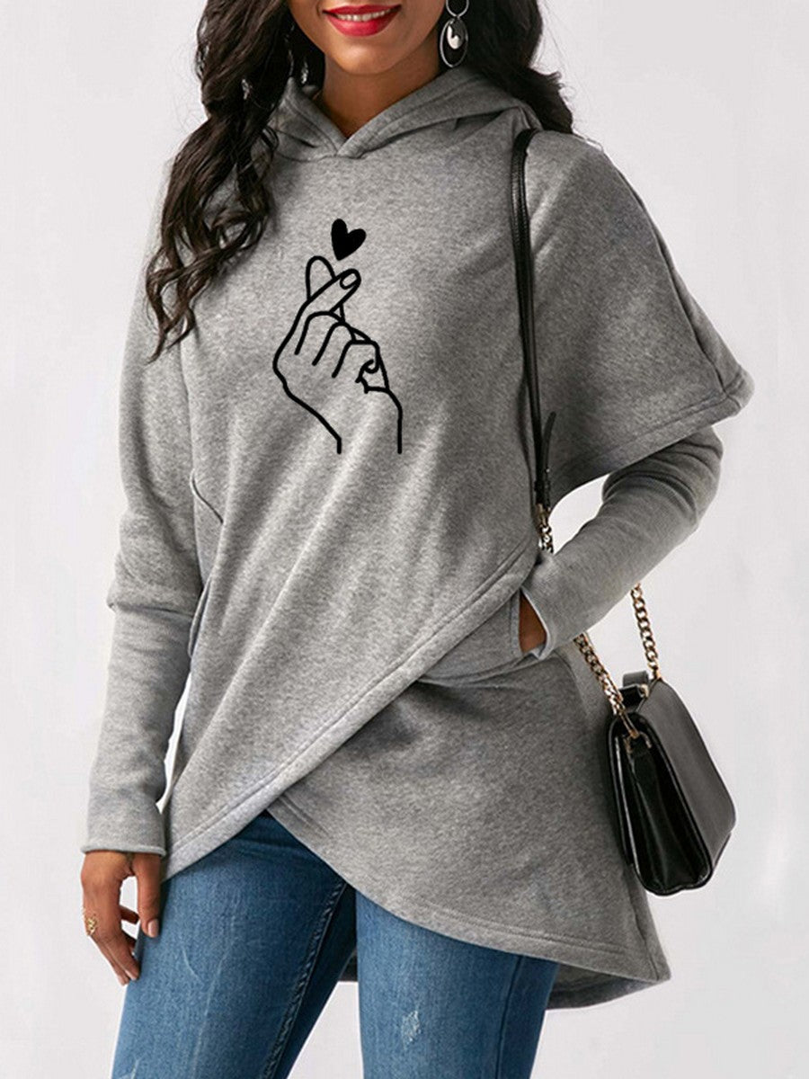 Fashion Irregular Printed Splice Long Sleeve Hoodies