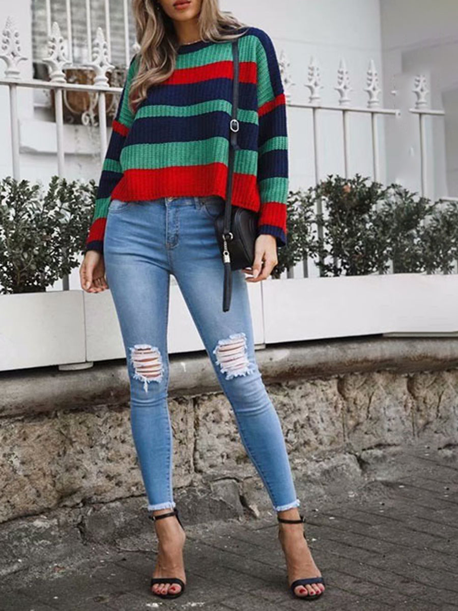 Fashion Casual Round Neck Long Sleeve Splice Knitted Sweater