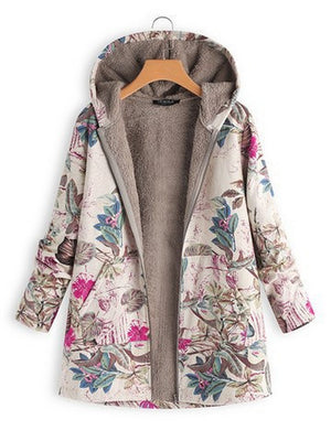 Casual Zipper Printed Loose Long Sleeve Coat with Hooded