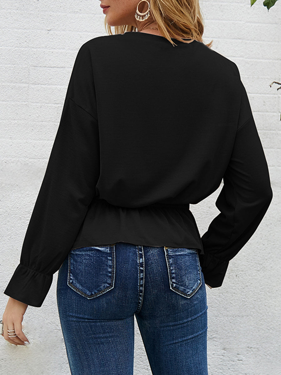 Solid Color Long-sleeved Top