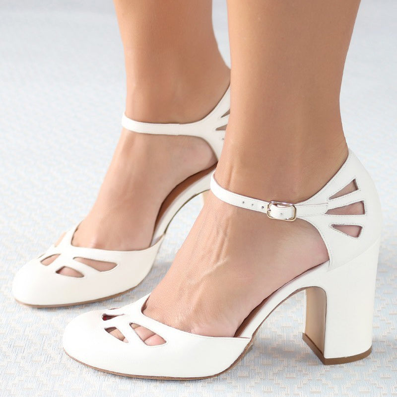 Women Retro Buckle Strap Pumps Chunky Heel Sandals