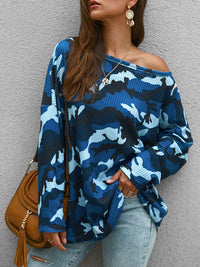 Fashion Round Neck Long Sleeve Knit Printed T-shirt