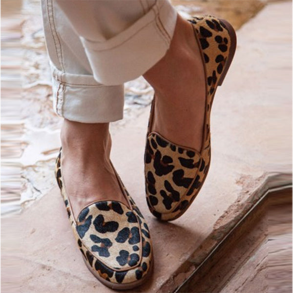 Women Leopard Loafers Casual Slip On Shoes