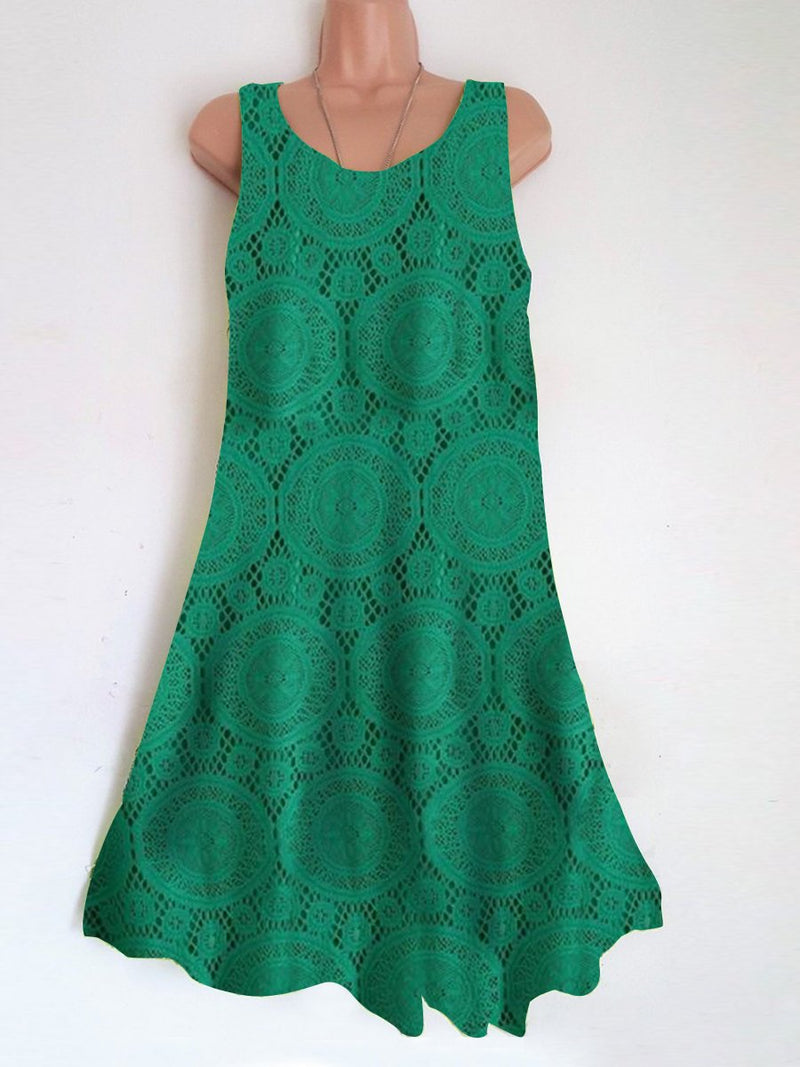 Round Neck Sleeveless Lace Dress
