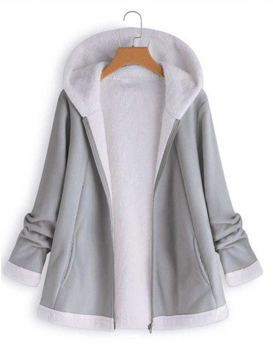 Fashion Casual Long Sleeve Zipper Splice Solid Color Coat with Hooded