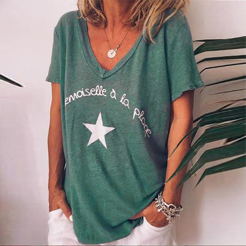 Casual V Neck Letter Short Sleeve Shirts