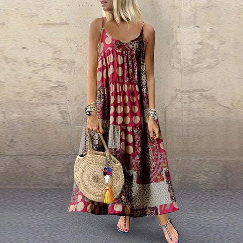 SHIFT DAYTIME CASUAL PRINTED MAXI DRESSES