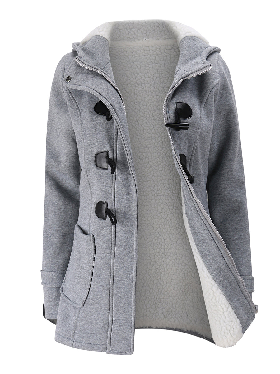 Fashion Zipper Spliced Open Pocket Solid Color Coat with Hooded
