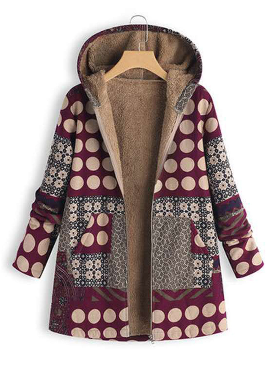 Fashion Cotton Linen Printed Zipper Long Sleeve with Hooded
